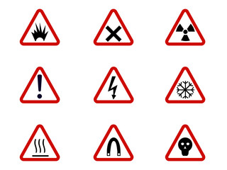Warning and hazard symbols on triangles vector collection. Safety and caution, risk alert information illustration EPS