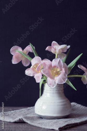 rosa tulpen in der vase stock photo and royalty free. Black Bedroom Furniture Sets. Home Design Ideas