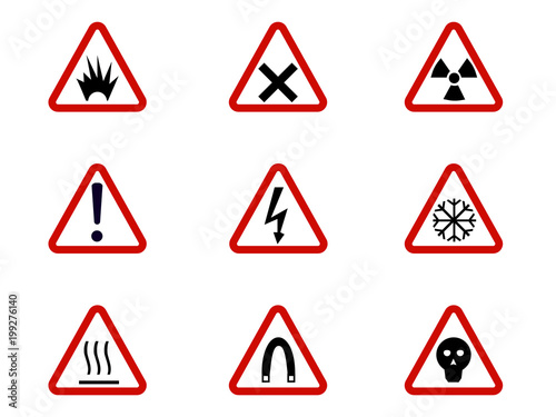 Warning And Hazard Symbols On Triangles Vector Collection Safety