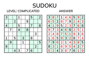 Sudoku. Kids and adult mathematical mosaic. Magic square. Logic puzzle game. Digital rebus.