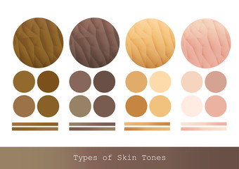 Types of Skin Tones color and texture vector illustration.