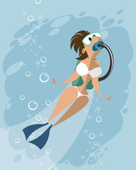 Scuba diving woman