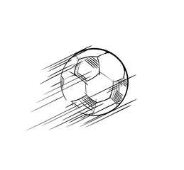 Goal, Soccer ball flying Icon. European football logo. Sports concept for the championship, sports bars, broadcasts. Lines and strokes Simple drawing sketch. Element for the Scores table. Vector