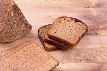Black bread and small breadsticks
