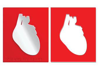 Red card with real heart. Valentine's day vector illustration