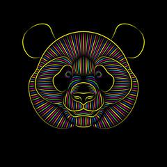 Engraving of stylized psychedelic giant panda on black background