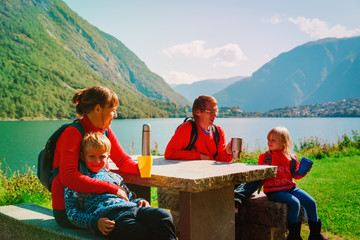 family hiking. mother, dad and kids having picnic in scenic nature