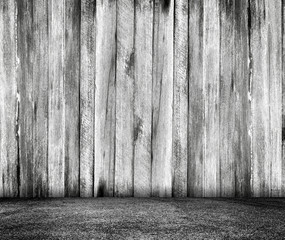 Abstract grunge texture background. empty room with brick wall and wood floor