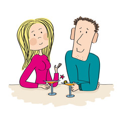 Young dating couple sitting in the bar, drinking cocktail. Beutiful blonde sexy woman with attractive young man. Original hand drawn illustration.