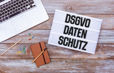 German General Data Protection Regulation (DSGVO) new law in 2018,  office desk flat lay