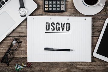 German General Data Protection Regulation (DSGVO) new law in 2018, Office desk with computer technology, high angle