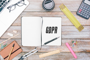 General Data Protection Regulation (GDPR) new law in 2018, office desk flat lay in journal of writer on office desk flat lay