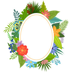 Badge with tropical flowers and leaves doodle style, design for postcard and invitation. Vector