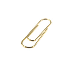 golden paper clip isolated on white background