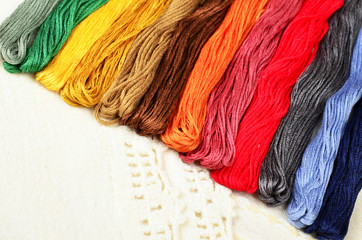 Multi-colored cotton threads for the background