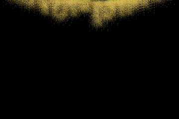 Gold glitter texture isolated on black. Rain of grainy particles. Celebratory background. Golden confetti explosion, illustration