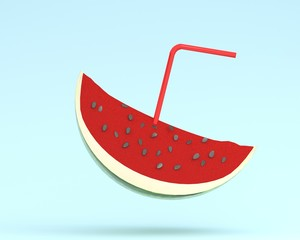Juicy watermelon sliced, Juice with straws on blue color pastel background. minimal fruit concept. Idea creative foods and drinks that are typically enjoyed at summer times festivals around the world