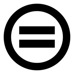 Sign equally black icon in circle vector illustration isolated .