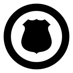 Police badge black icon in circle vector illustration isolated .