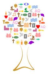Baum aus bunten christlichen Symbolen