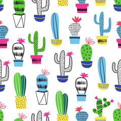 Aluminium Prints Plants in pots Cactus kid seamless pattern. Vector decoration.
