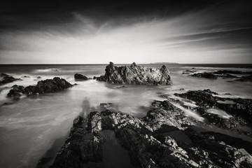 Beautiful long exposure shot of seascape in black and white.Nature composition.