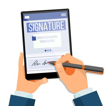 Electronic Signature Tablet Vector. Electronic Document, Contract. Digital Signature. Isolated Flat Illustration