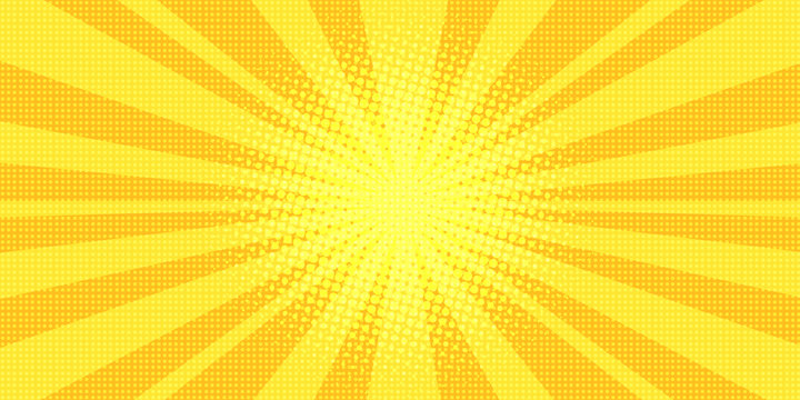 yellow rays background pop art
