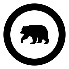 Bear icon black color in circle