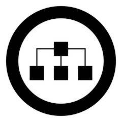 Network icon black color in circle