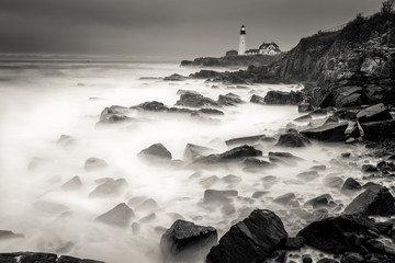 A long exposure of the coast of Maine.