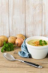 Potato soup with roasted onions