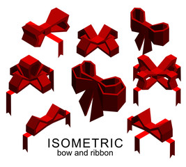 A set of gifts, hearts and bows on a white background. Isometric 3d