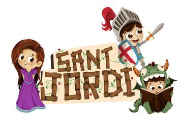 Sant Jordi con caballero princesa y dragon