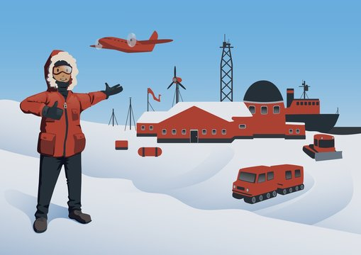 Antarctica and North Pole. Polar Explorer at the research station. Offshore oil production. Vector illustration.