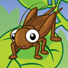 Cartoon funny cricket, Cute vector