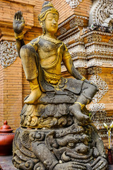 Buddhist statue in Chiang Mai temple, Thailand