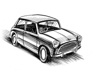 Ink black and white illustration of a vintage British car