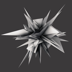 Abstract 3D rendering - deformed object with extruded surface, isolated on grey background