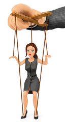 3D Business woman being handled like marionette by her boss