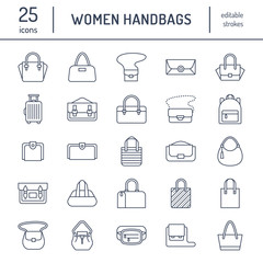 Women handbags flat line icons. Bags types - crossbody, backpacks, clutch, totes, hobo, leather briefcase, luggage. Trendy accessories thin linear signs for fashion store.