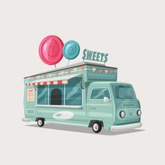 Retro street food van. Vintage sweets and candy truck. Cartoon vector illustration.