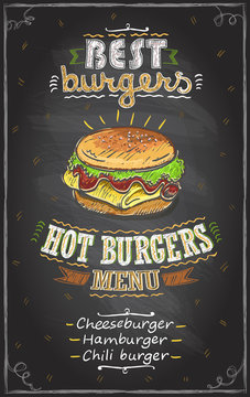 Best burgers chalkboard menu