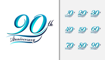 Set of anniversary Calligraphic and Typographic. Colorful anniversary celebration lettering design for booklet, leaflet, magazine, brochure poster, web, invitation or greeting card.