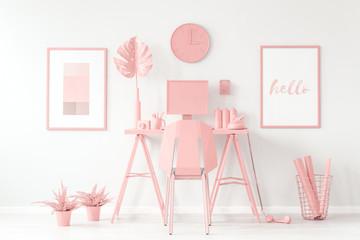Pastel pink workspace white interior