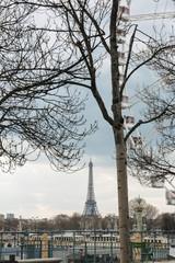 Eiffel Tower and Ferris wheel in Paris, France