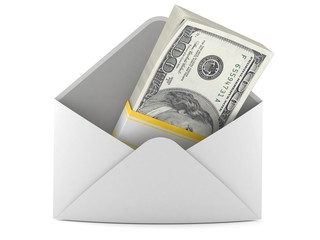 Money inside envelope