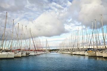 Sailboats moored in Vodice, Dalmatia, Croatia