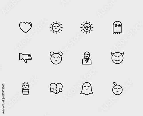 Emoji icons  Set of broken heart love, emoji sun and cute