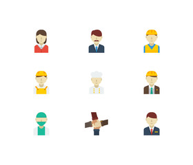 Professional icons set. Teamwork and professional icons with female worker, doctor and white worker. Set of corporate for web app logo UI design.